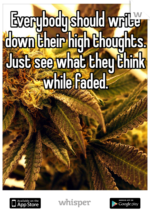 Everybody should write down their high thoughts. Just see what they think while faded.
