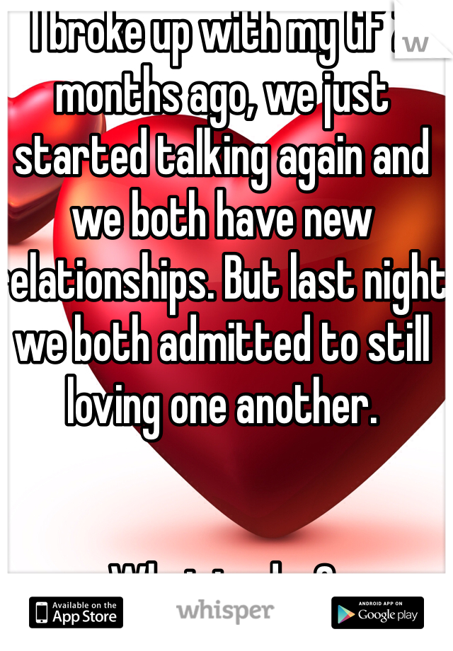 I broke up with my GF 2 months ago, we just started talking again and we both have new relationships. But last night we both admitted to still loving one another.    What to do..?