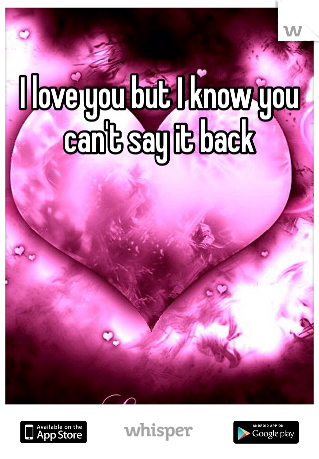 I love you but I know you can't say it back