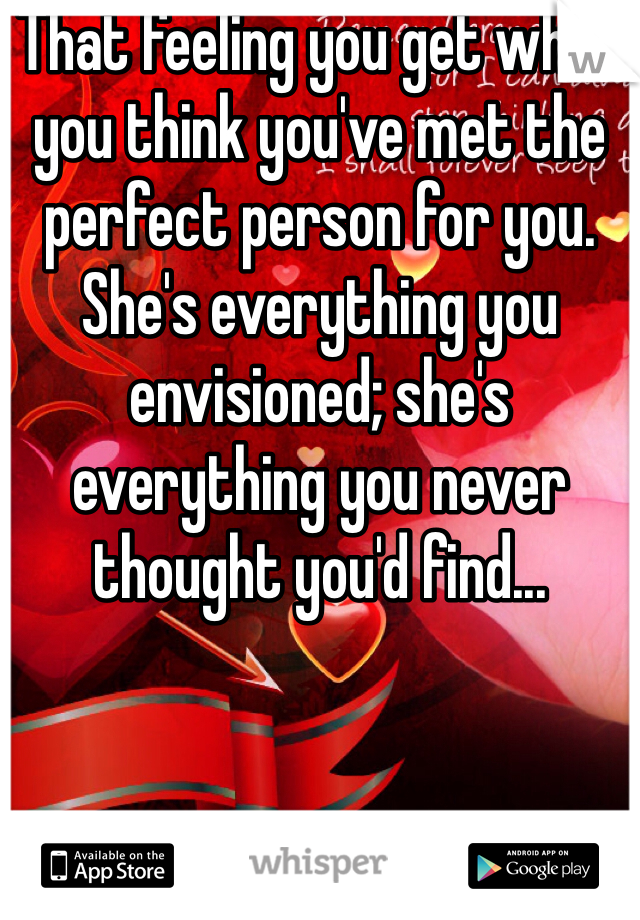That feeling you get when you think you've met the perfect person for you. She's everything you envisioned; she's everything you never thought you'd find...