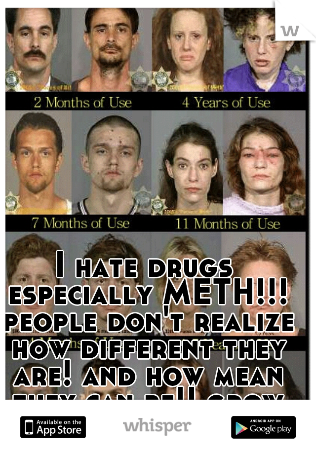 I hate drugs especially METH!!! people don't realize how different they are! and how mean they can be!! grow up!!