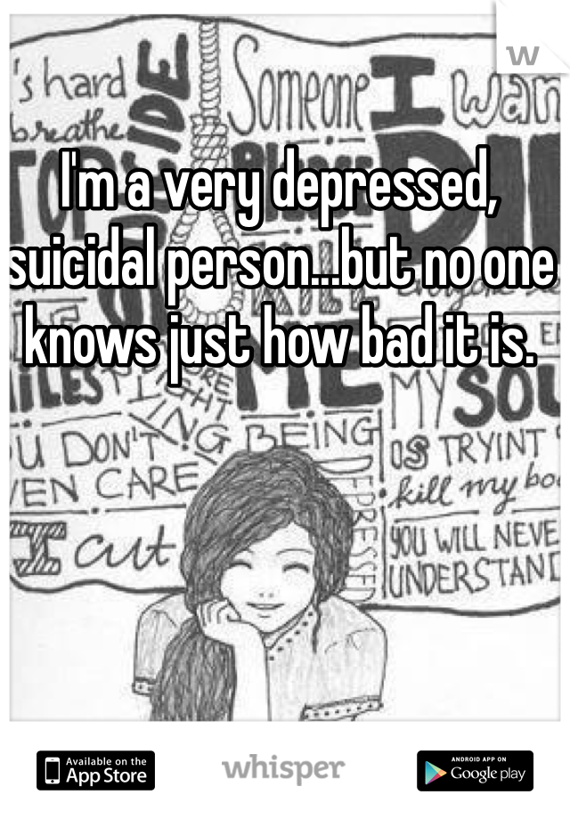 I'm a very depressed, suicidal person...but no one knows just how bad it is.