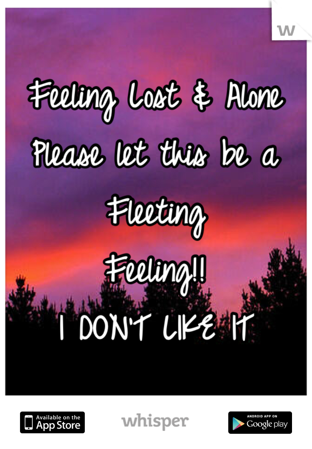 Feeling Lost & Alone Please let this be a Fleeting  Feeling!! I DON'T LIKE IT