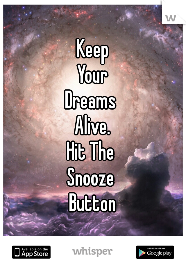 Keep Your Dreams  Alive. Hit The  Snooze  Button