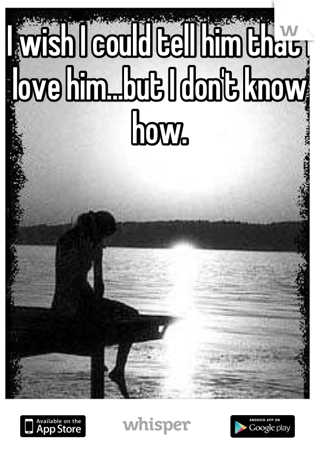 I wish I could tell him that I love him...but I don't know how.