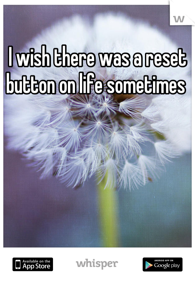 I wish there was a reset button on life sometimes
