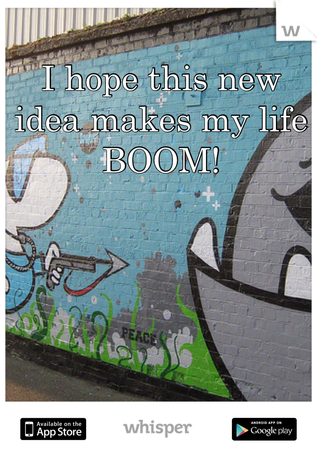 I hope this new idea makes my life BOOM!