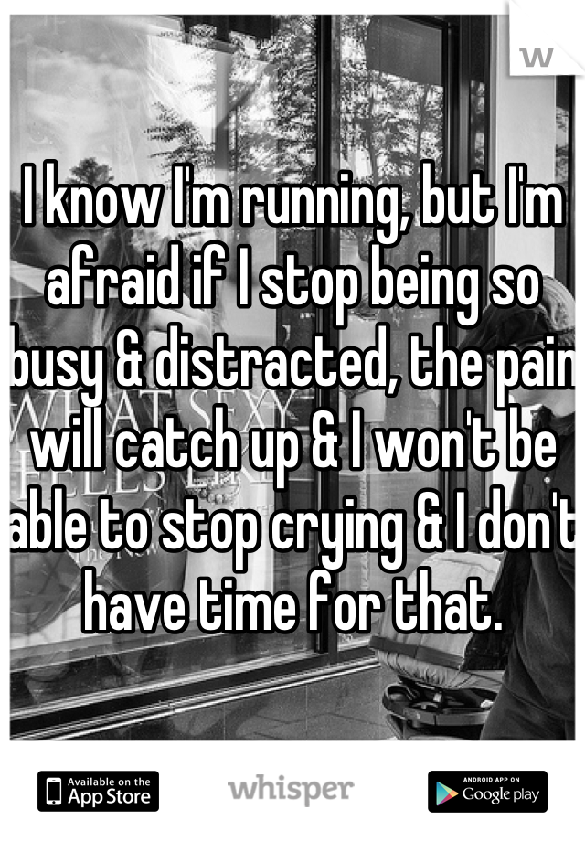 I know I'm running, but I'm afraid if I stop being so busy & distracted, the pain will catch up & I won't be able to stop crying & I don't have time for that.