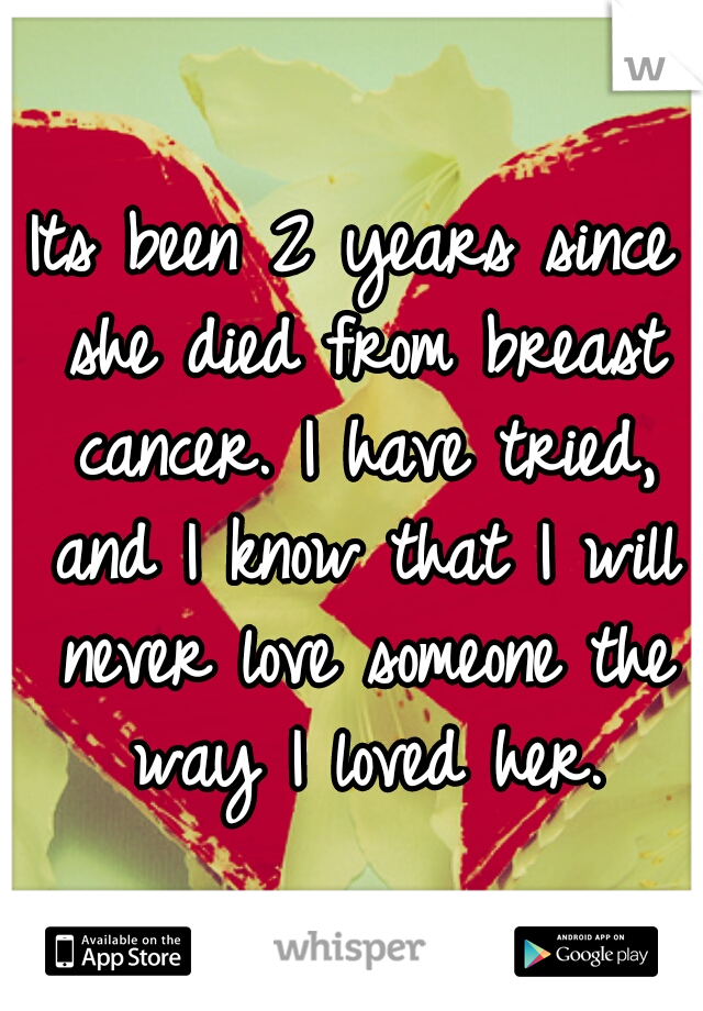 Its been 2 years since she died from breast cancer. I have tried, and I know that I will never love someone the way I loved her.