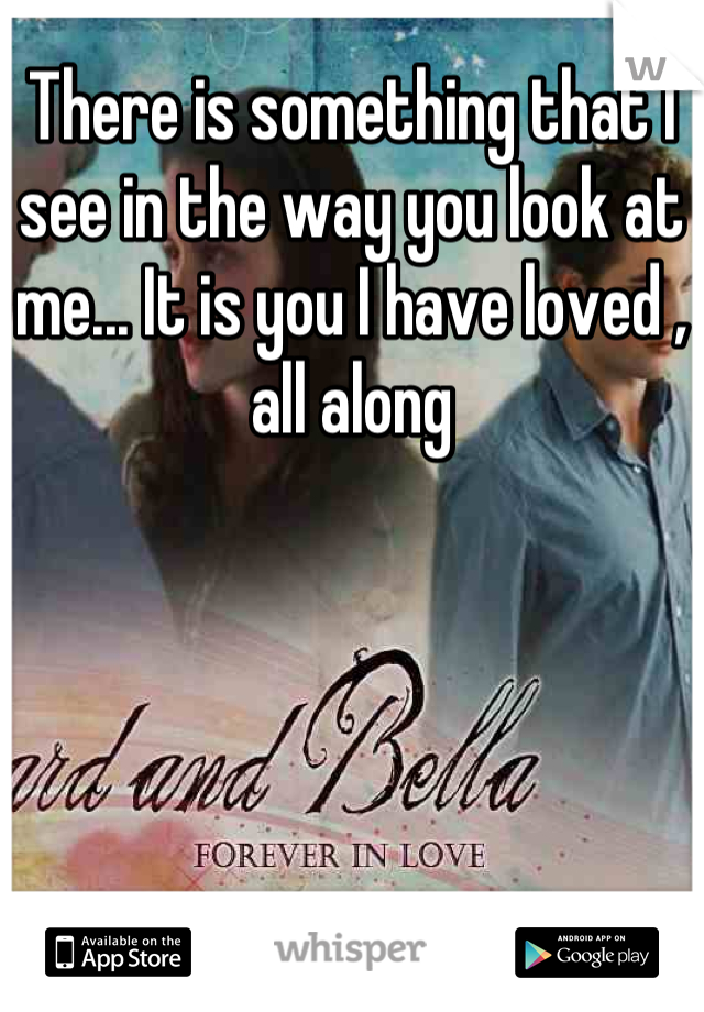 There is something that I see in the way you look at me... It is you I have loved , all along