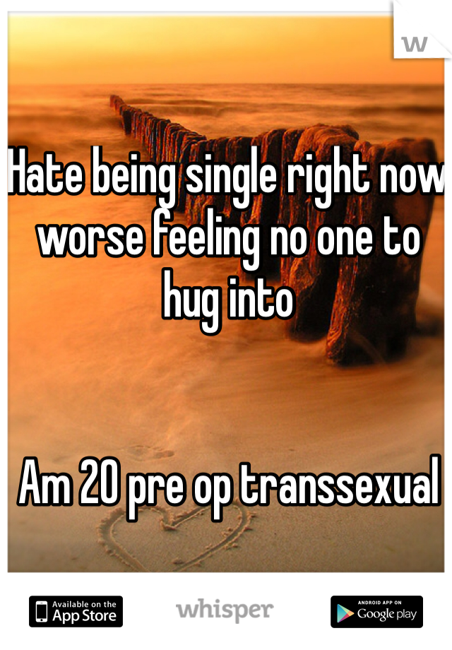 Hate being single right now worse feeling no one to hug into    Am 20 pre op transsexual