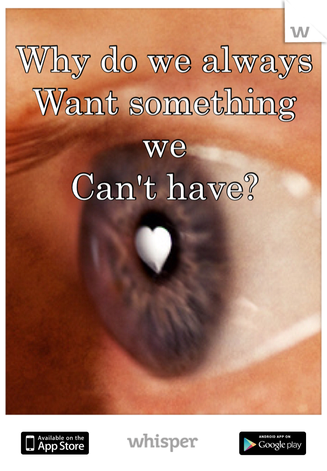 Why do we always Want something we  Can't have?