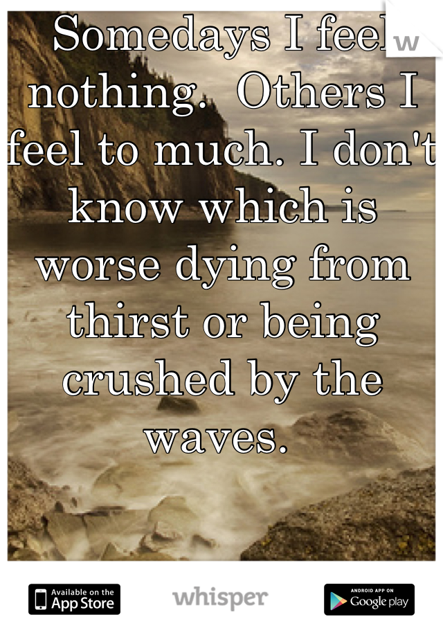 Somedays I feel nothing.  Others I feel to much. I don't know which is worse dying from thirst or being crushed by the waves.