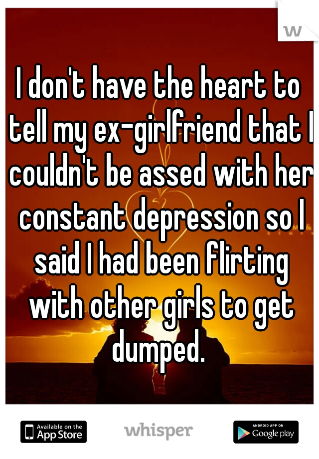 I don't have the heart to tell my ex-girlfriend that I couldn't be assed with her constant depression so I said I had been flirting with other girls to get dumped.