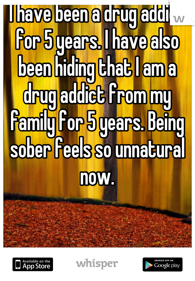 I have been a drug addict for 5 years. I have also been hiding that I am a drug addict from my family for 5 years. Being sober feels so unnatural now.