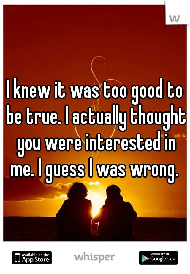 I knew it was too good to be true. I actually thought you were interested in me. I guess I was wrong.