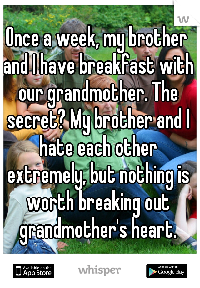 Once a week, my brother and I have breakfast with our grandmother. The secret? My brother and I hate each other extremely, but nothing is worth breaking out grandmother's heart.