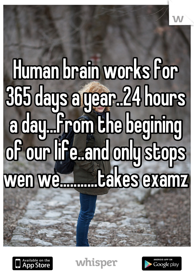 Human brain works for 365 days a year..24 hours a day...from the begining of our life..and only stops wen we...........takes examz