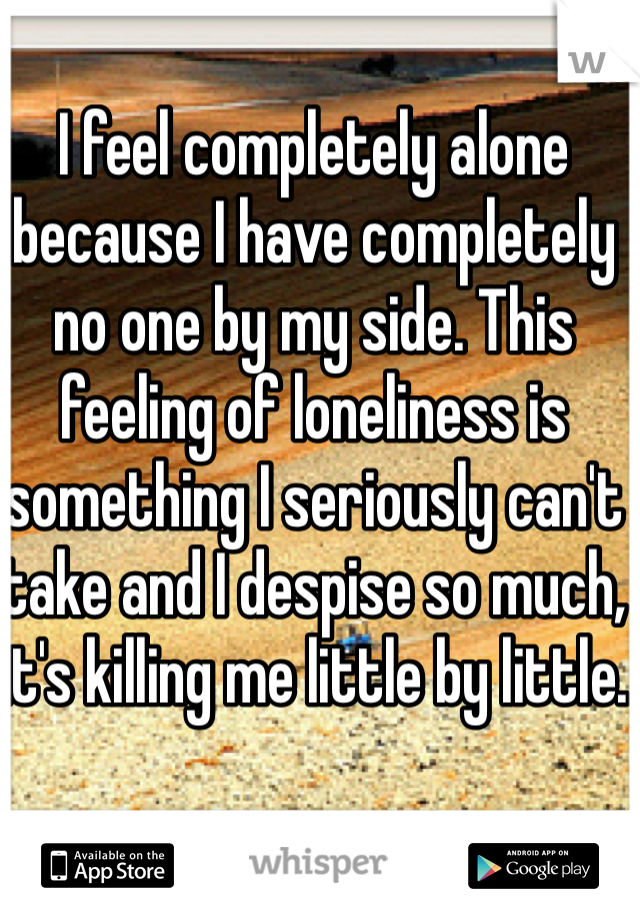 I feel completely alone because I have completely no one by my side. This feeling of loneliness is something I seriously can't take and I despise so much, it's killing me little by little.
