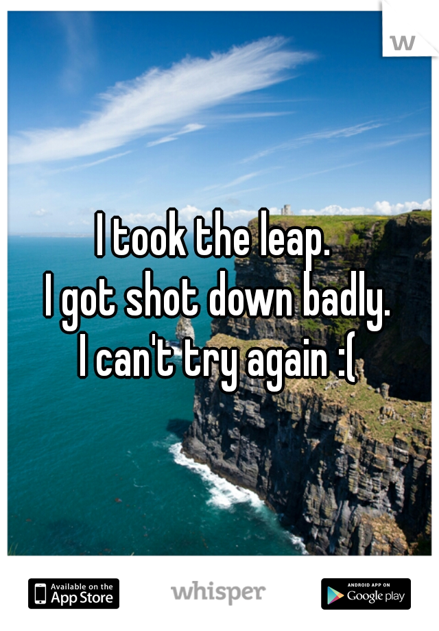I took the leap.  I got shot down badly. I can't try again :(