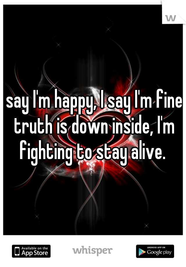 I say I'm happy, I say I'm fine. truth is down inside, I'm fighting to stay alive.