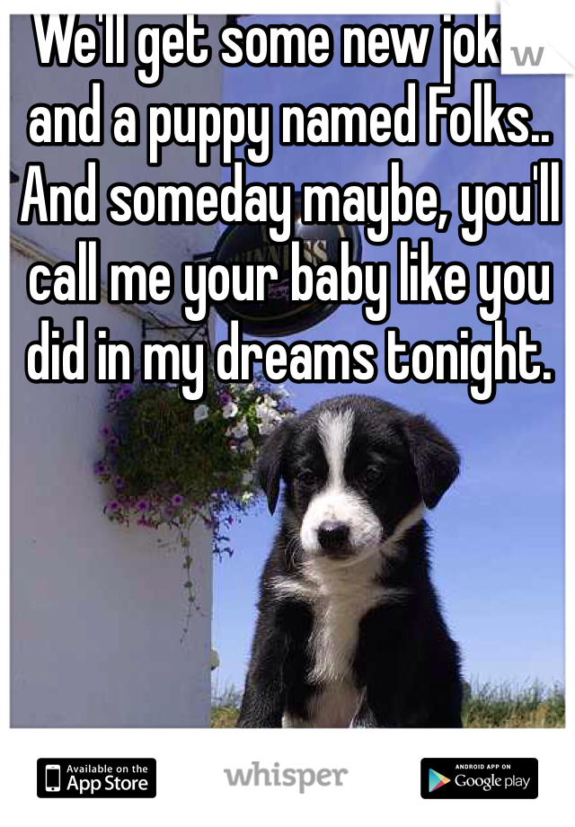 We'll get some new jokes and a puppy named Folks.. And someday maybe, you'll call me your baby like you did in my dreams tonight.