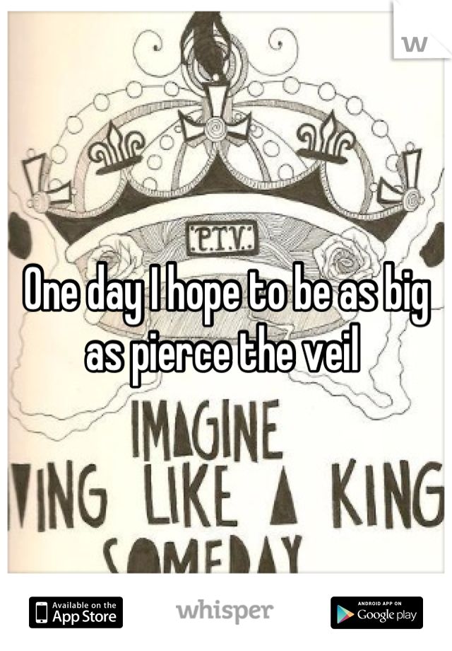One day I hope to be as big as pierce the veil