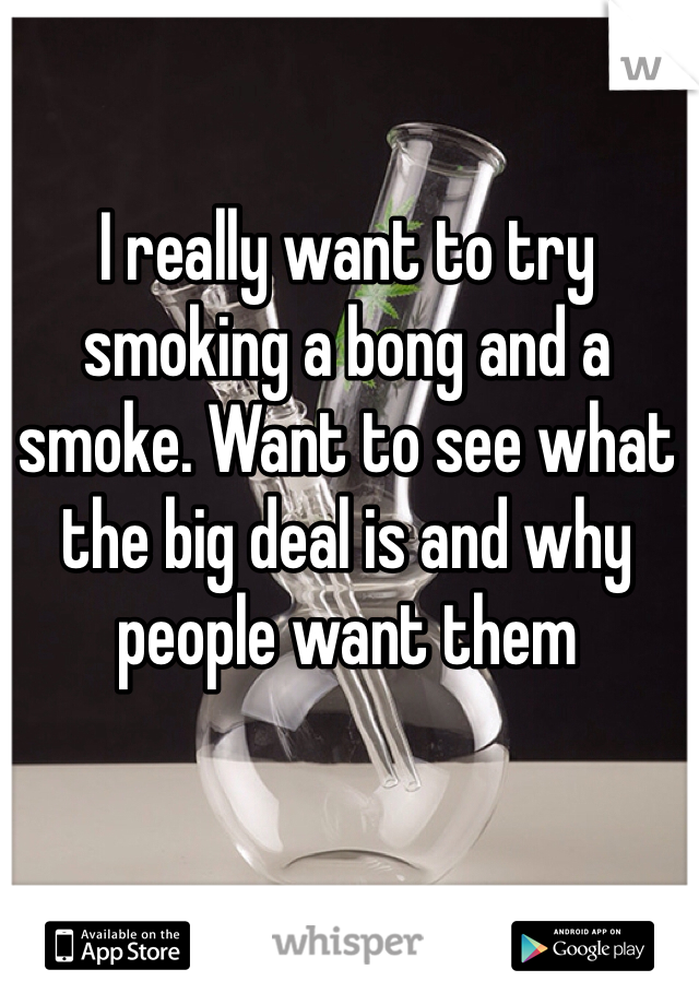 I really want to try smoking a bong and a smoke. Want to see what the big deal is and why people want them