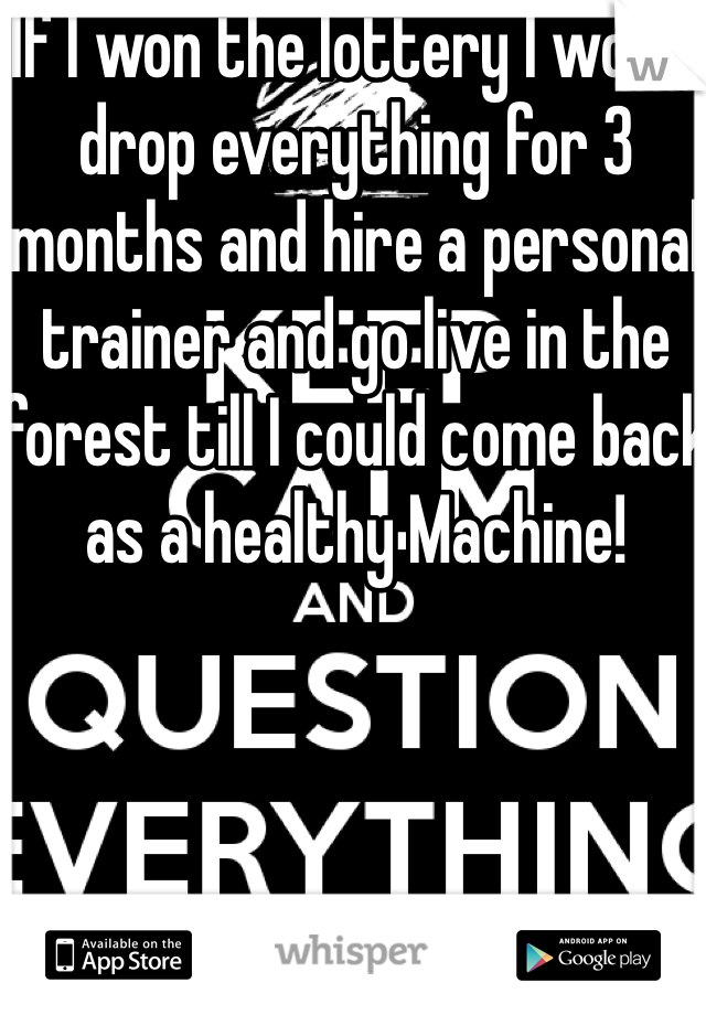 If I won the lottery I would drop everything for 3 months and hire a personal trainer and go live in the forest till I could come back as a healthy Machine!