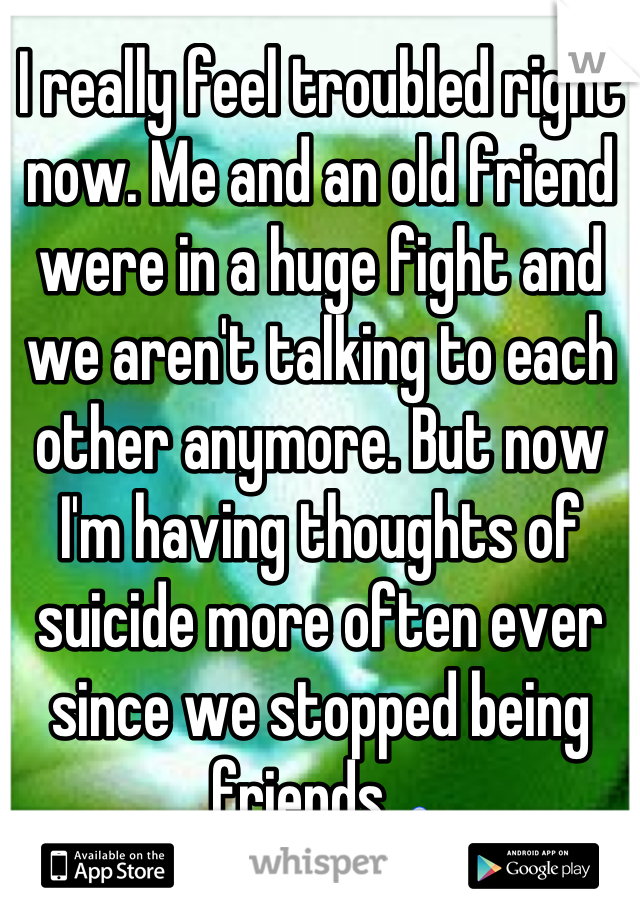 I really feel troubled right now. Me and an old friend were in a huge fight and we aren't talking to each other anymore. But now I'm having thoughts of suicide more often ever since we stopped being friends. 😰