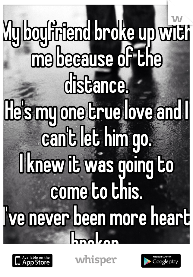 My boyfriend broke up with me because of the distance.  He's my one true love and I can't let him go. I knew it was going to come to this. I've never been more heart broken.