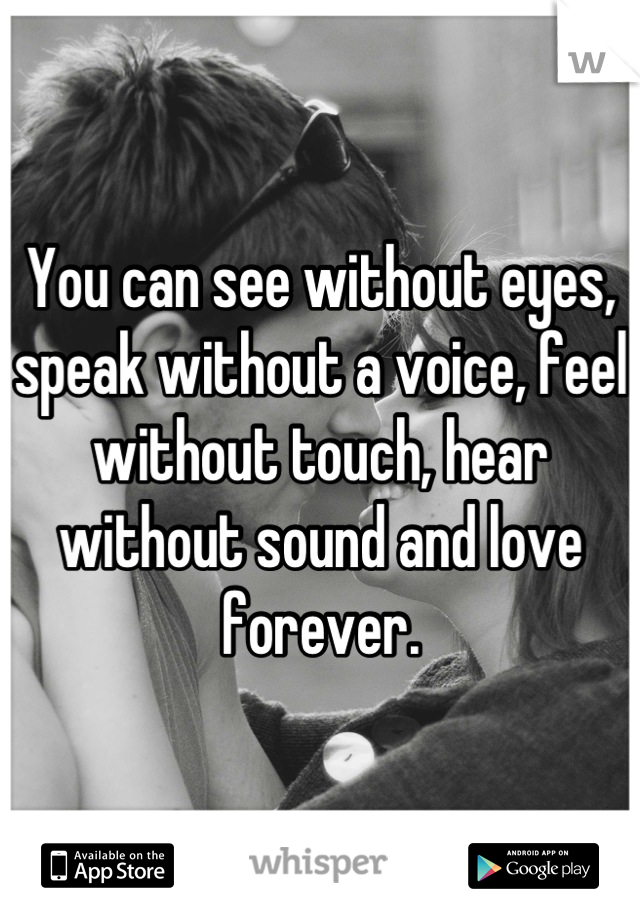 You can see without eyes, speak without a voice, feel without touch, hear without sound and love forever.