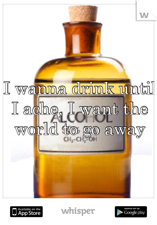 I wanna drink until I ache, I want the world to go away