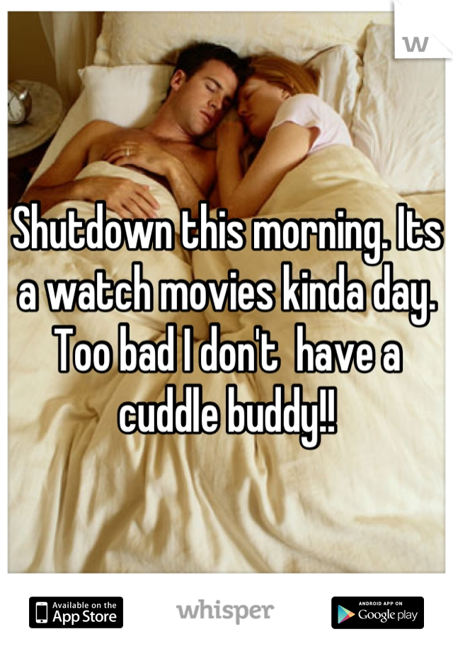 Shutdown this morning. Its a watch movies kinda day. Too bad I don't  have a cuddle buddy!!