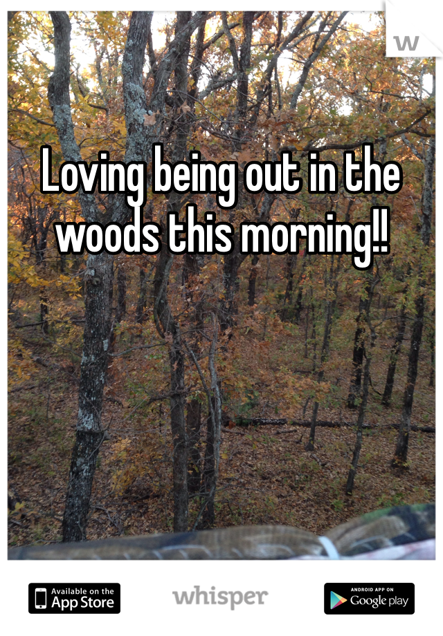 Loving being out in the woods this morning!!