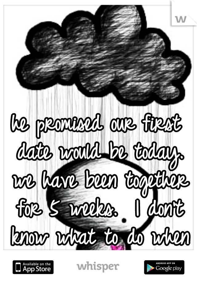 he promised our first date would be today. we have been together for 5 weeks.  I don't know what to do when it falls through again
