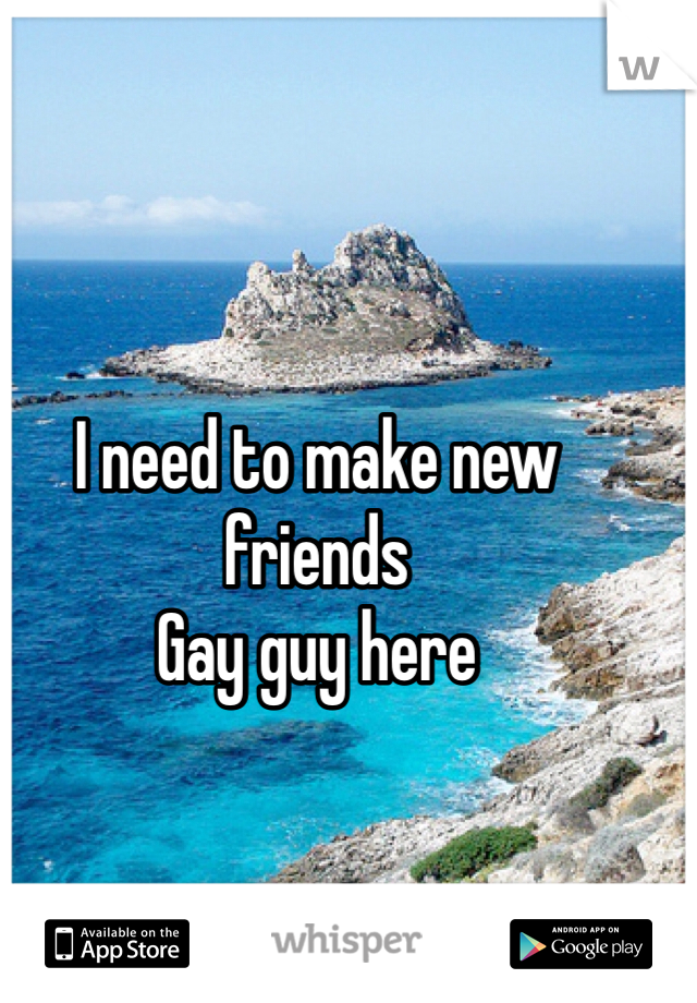I need to make new friends  Gay guy here