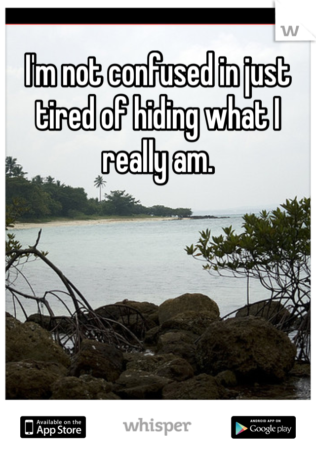 I'm not confused in just tired of hiding what I really am.
