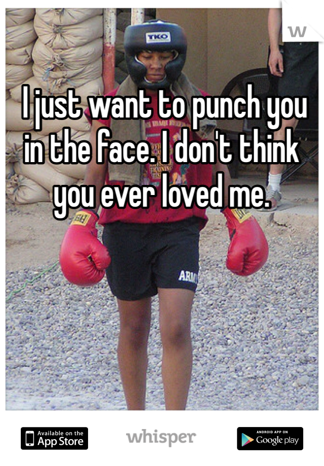 I just want to punch you in the face. I don't think you ever loved me.