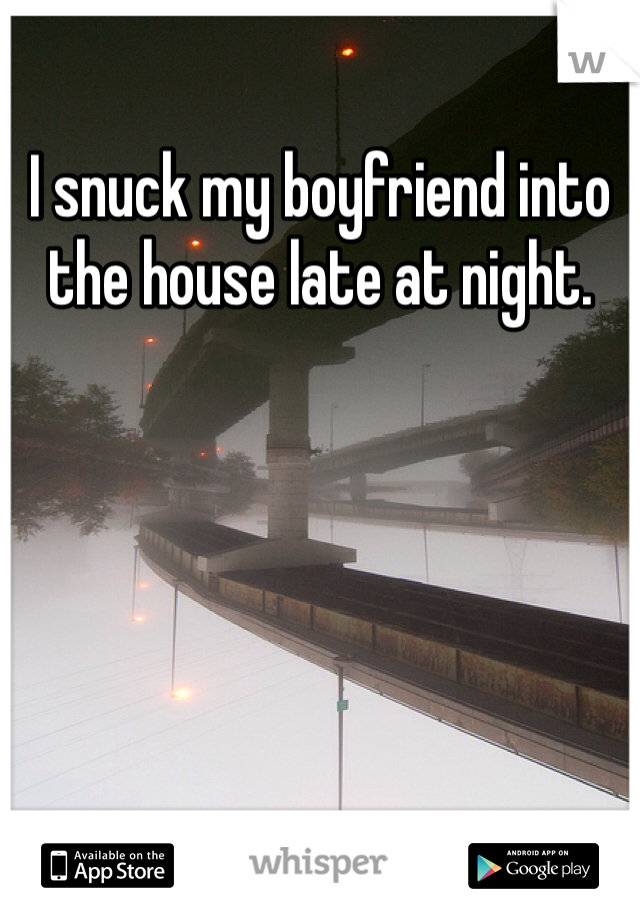 I snuck my boyfriend into the house late at night.