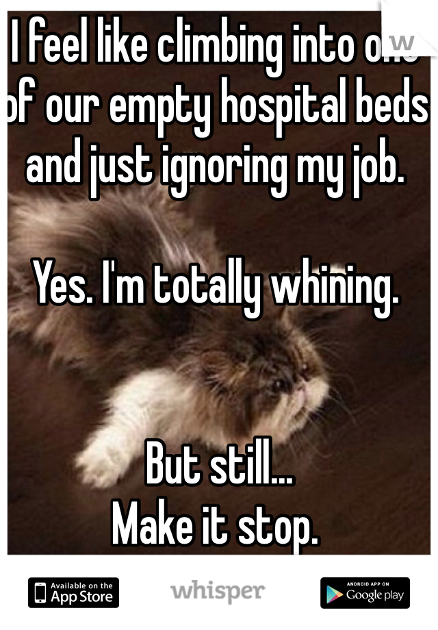I feel like climbing into one of our empty hospital beds and just ignoring my job.   Yes. I'm totally whining.    But still... Make it stop.