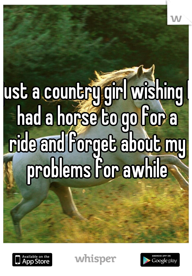 just a country girl wishing I had a horse to go for a ride and forget about my problems for awhile