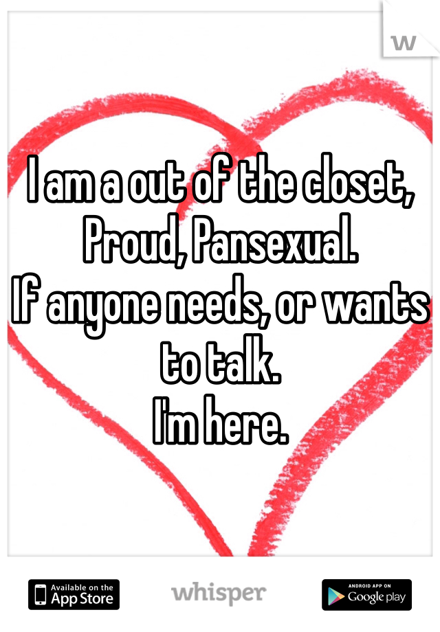 I am a out of the closet, Proud, Pansexual. If anyone needs, or wants to talk. I'm here.