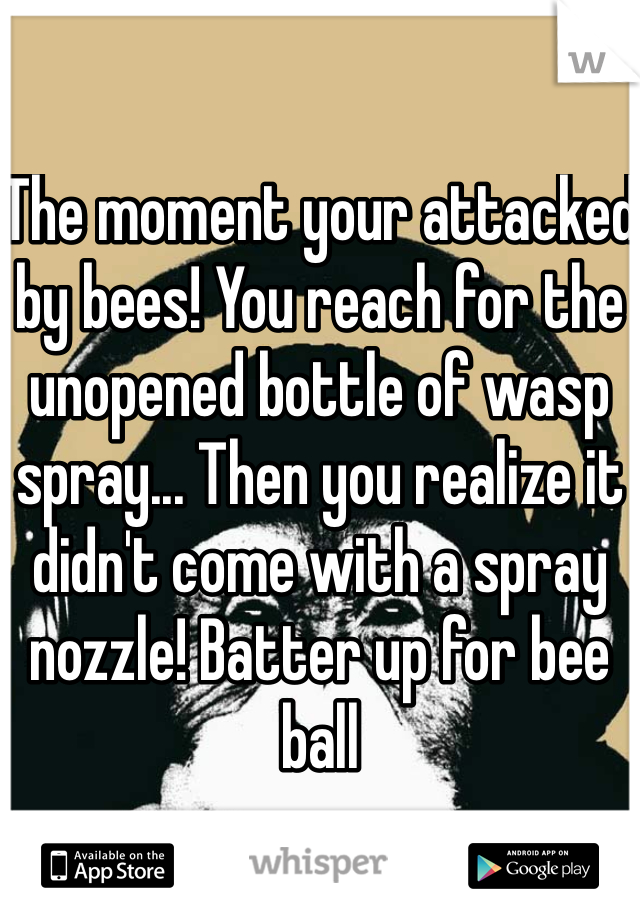 The moment your attacked by bees! You reach for the unopened bottle of wasp spray... Then you realize it didn't come with a spray nozzle! Batter up for bee ball