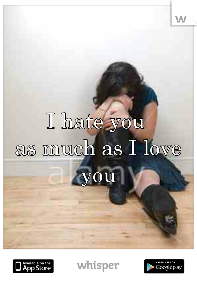 I hate you  as much as I love you