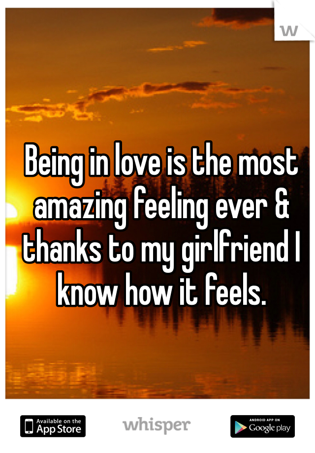 Being in love is the most amazing feeling ever & thanks to my girlfriend I know how it feels.