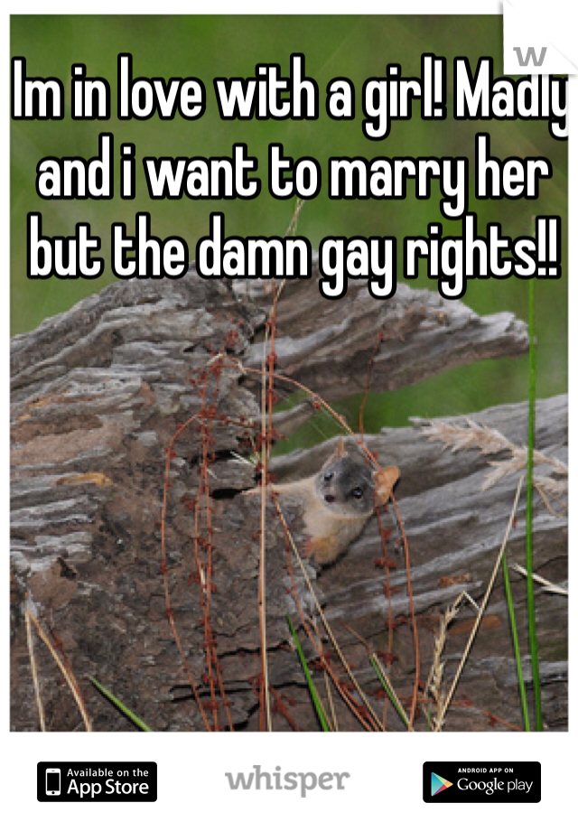 Im in love with a girl! Madly and i want to marry her but the damn gay rights!!