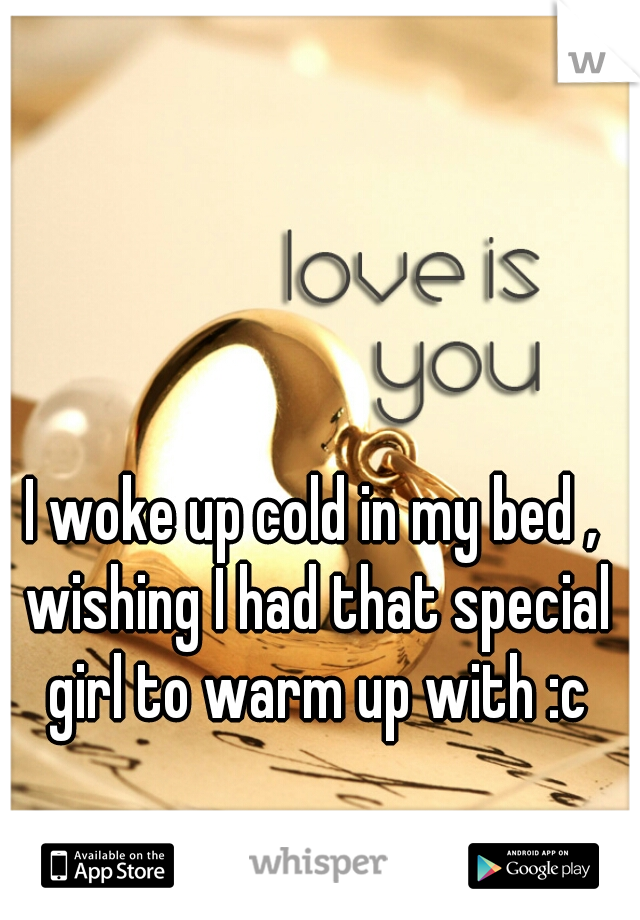 I woke up cold in my bed , wishing I had that special girl to warm up with :c