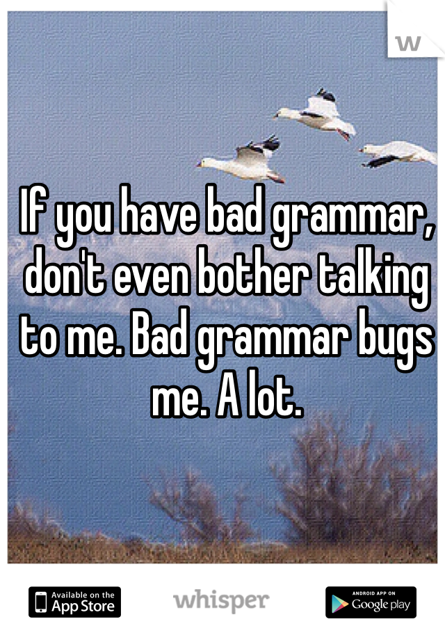 If you have bad grammar, don't even bother talking to me. Bad grammar bugs me. A lot.