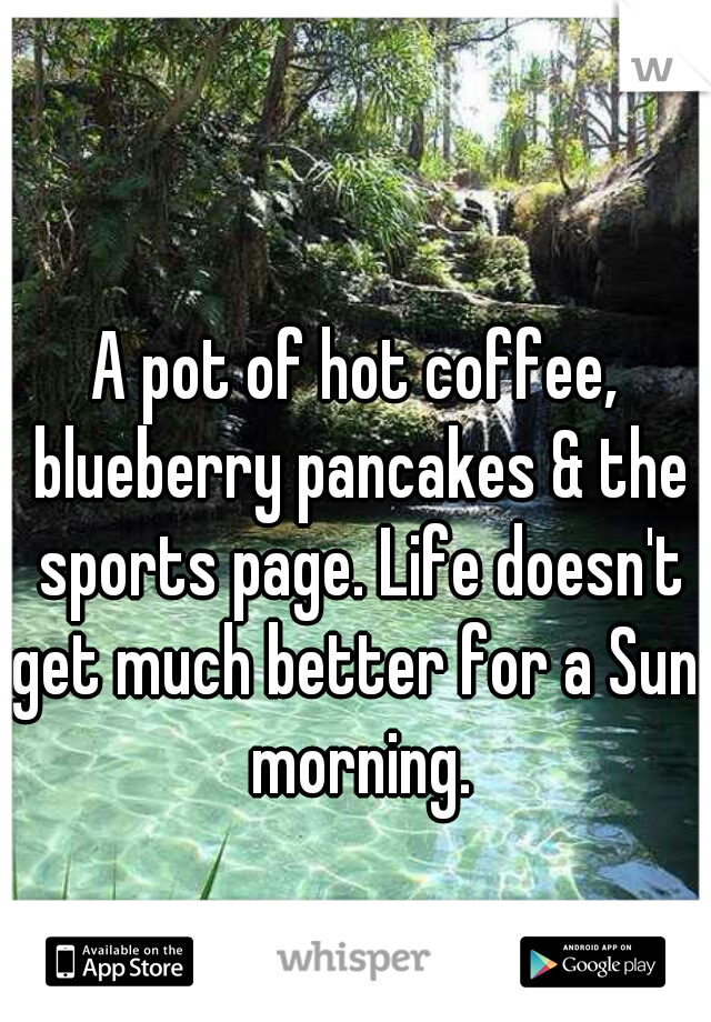 A pot of hot coffee, blueberry pancakes & the sports page. Life doesn't get much better for a Sun. morning.